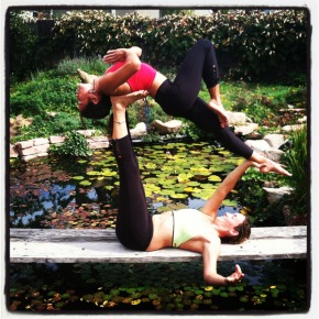 Adi Carter and Luz Raquel Doing Acro Yoga in Beckons Yoga Clothing